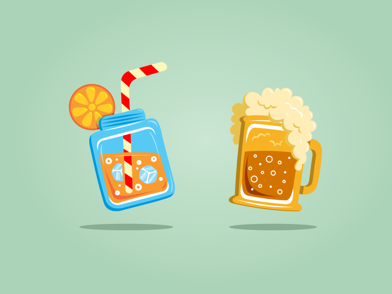Juice or Beer beer juice illustration icon logo design