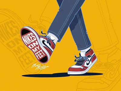 Nikes On My Feet rip tribute mac miller feet nike sneakers illustartion design