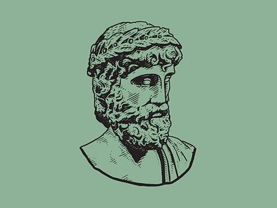 Zeus god olympic greece head crosshatch illustration zeus