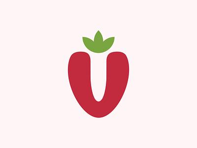 V icon strawberry branding symbol illustration logo design