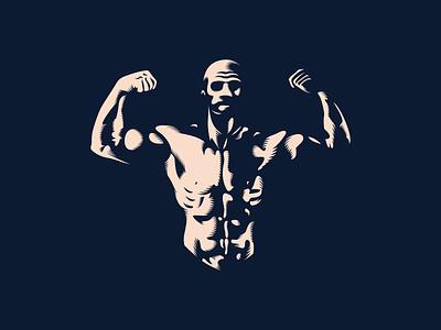Strength shadows body lighting bolt gym bodybuilder strength t-shirt illustration design