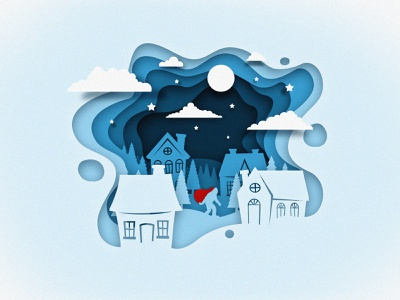 Winter Surprise paper cutout moon stars night yeti winter illustration design