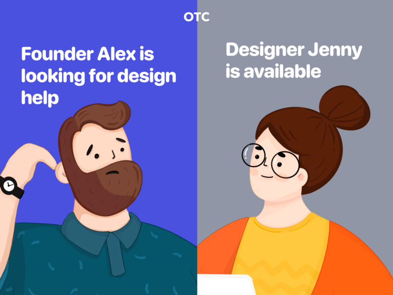OTC banner design people illust ads banner designer networking business laptop illustration otc