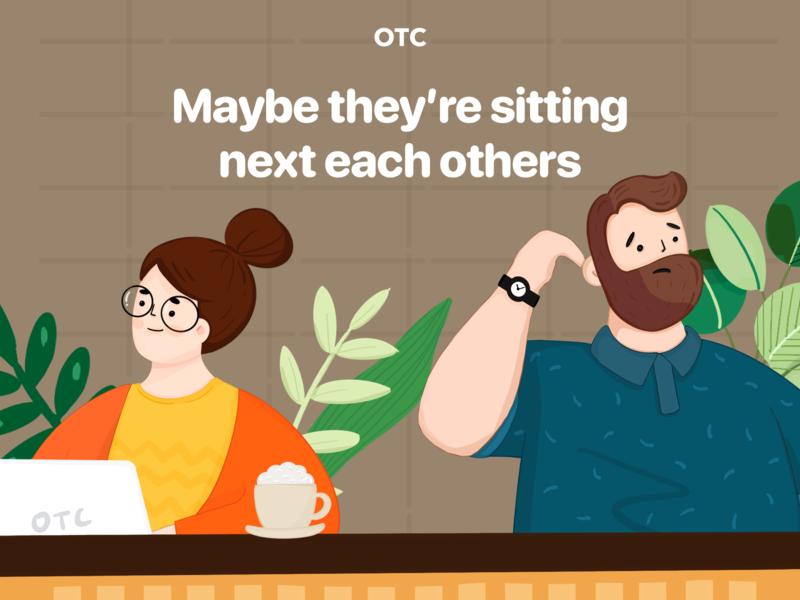 OTC banner design marketing opentochat otc facebookad ads banner plant coffeshop networking buness illust illustration