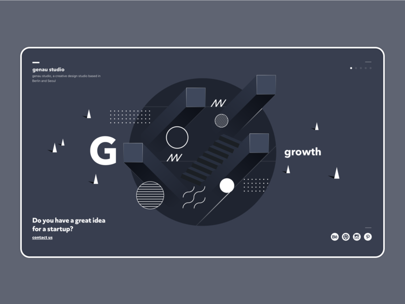 genau studio desktop design web user interface growth white grey black simple genau studio home landing abstract shape