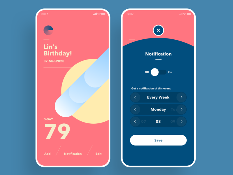 The Dday Circle, Countdown days app graphic ui mobile countdown day date vivid animation circle simple color