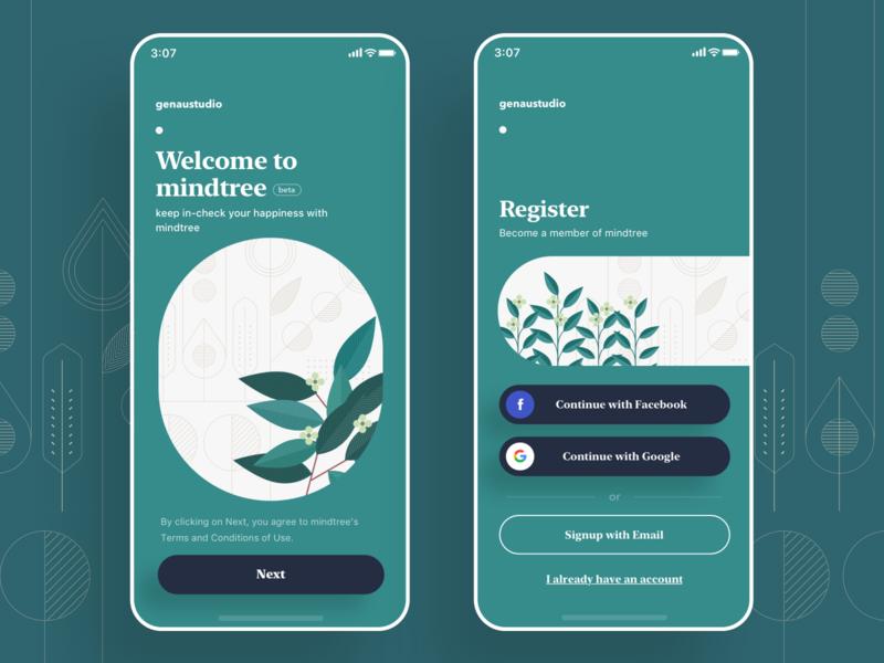 MindTree, Mobile, Welcome mobile app illust illustration leap register intro mental mind tree green welcom mobile