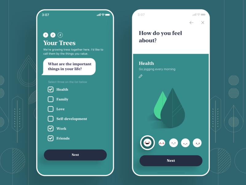 MindTree, Register bubble chat value life feeling leap happniess health add register tracking app mobile tree emotion mental green