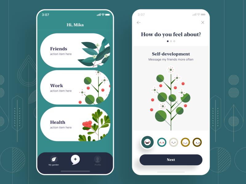 MindTree, Home Artwork tests track emotion mental dashboard green fruits tree ui mobile illustration home