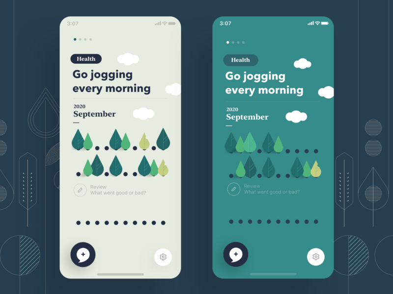 Mind Tree - Home screen improvement ui illustration progress tracking track green mindfulness productivity habit health mental mobile app tree mind