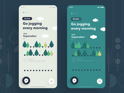 Mind Tree - Home screen improvement ui illustration progress tracking track green mindfulness productivity habit health mental mobile app tree mind