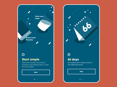 66days - onboarding mobile branding color illustration howitworks simple routine habit onboarding