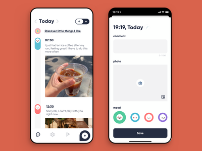 The Little Moments - Journal app, Daily view memory monthly daily picture moment mobile timeline post add track ui happiness mood journal diary