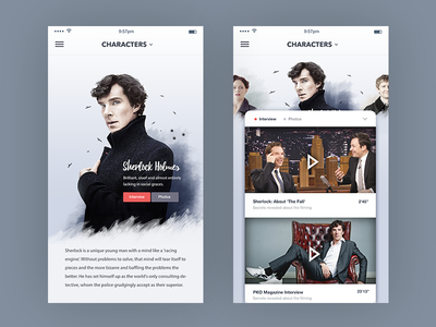 TV Show Characters page : Mobile movie clip character show tv white ux ui design mobile