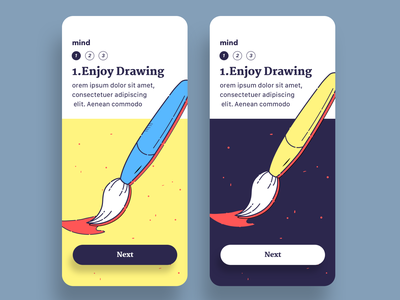 ReadMind, mobile, onboarding health drawing readmind mental mind illust howitworks intro color line illustration onboarding brush simple app user interface mobile design ui