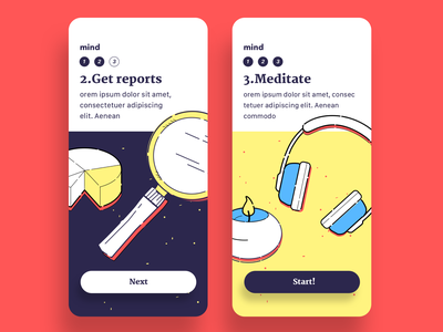 ReadMind, mobile, onboarding graph candle headset hand drawing readmind intro howitworks onboarding meditate yellow color illustration illust mental health app user interface mobile design ui
