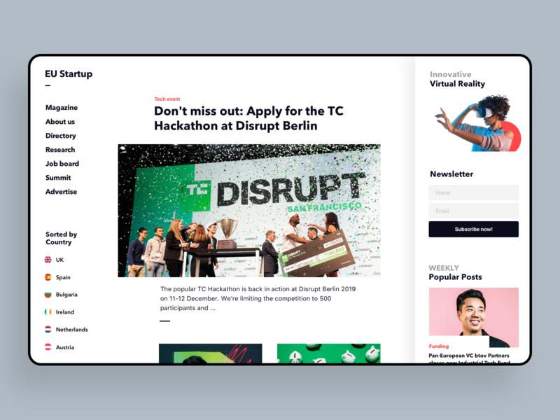 Case Study - TechNews, Desktop, EU Startup startup article desktop user interface ui web startups layout technews news