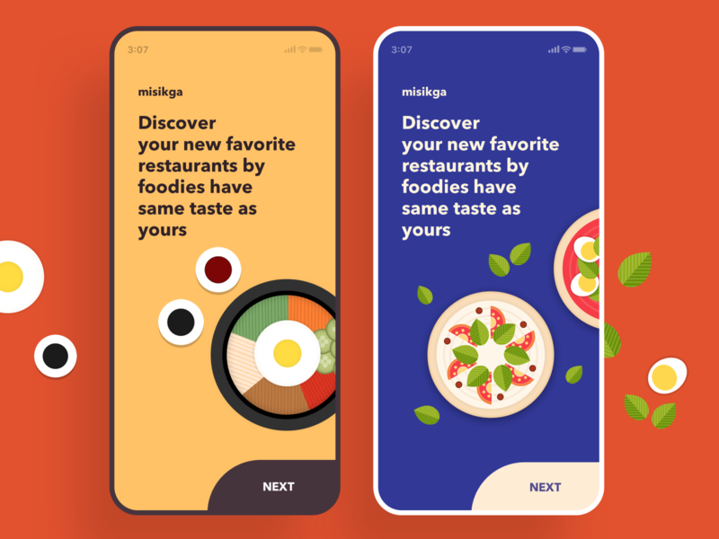 Foodie mobile onboarding misikga mobile graphic blue yellow restaurant bibimbap pizza color onboarding foodie food illustration ui