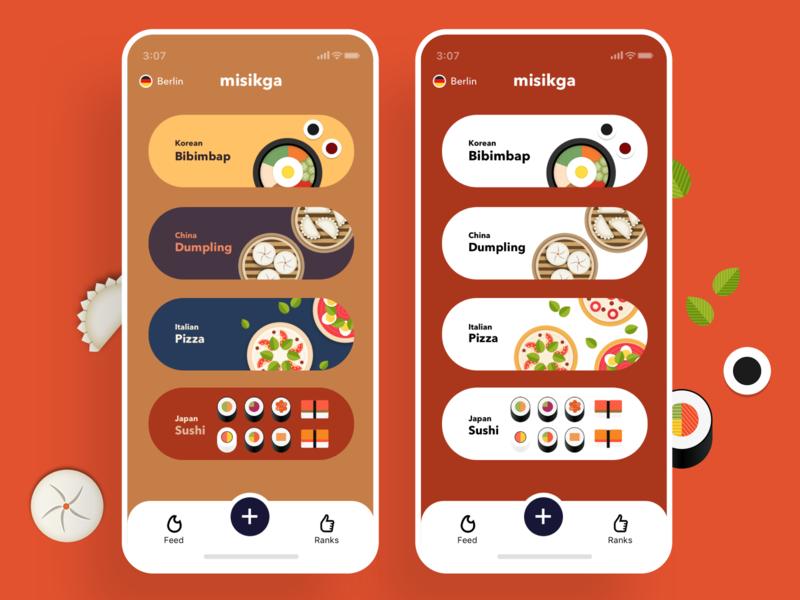 Misikga, Mobile, Ranks simple misikga menu sushi pizza dumpling bibimbap color list food illustration food app illustration mobile foodie food