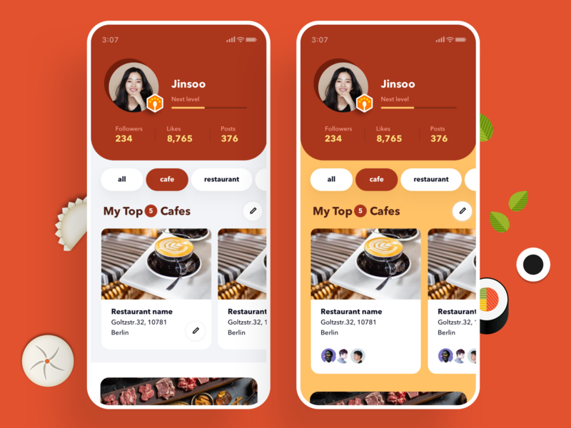 Misikga, Mobile, Profile top ranks color simple ui mobile app restaraunt foodie food profile