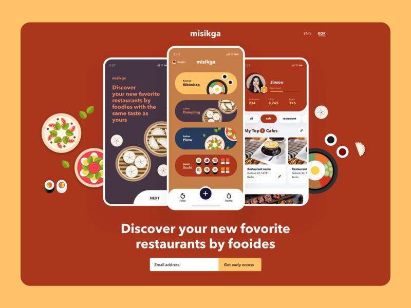 misikga landing user interface color illustration ui landing page rank restaurant foodie