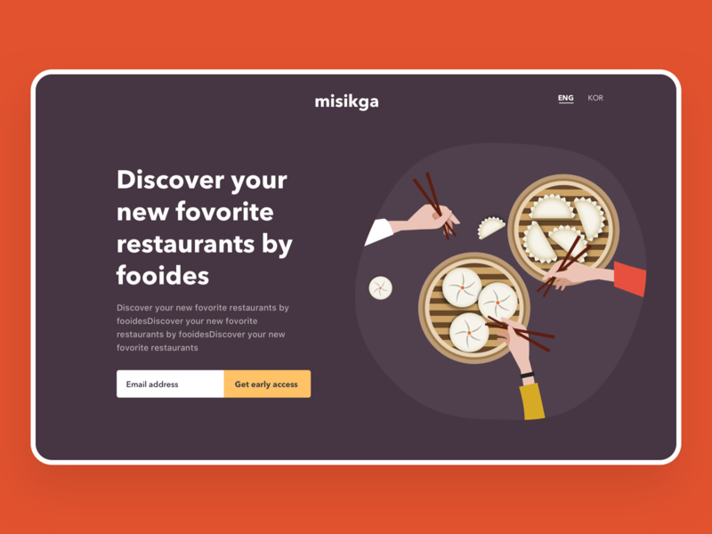 misikga landing user interface mobile simple ui web desktop dumpling food illustration landing page foodie misikga