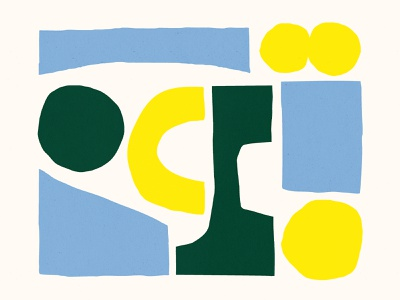 Some yellow, some blue and some green. bold pattern blue color design shapes yellow green illustration shape texture