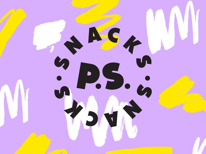 P.S. Snacks purple color identity branding logo yellow shapes illustration pattern shape texture