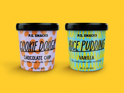 P.S. Snacks packaging logo design bold color orange shapes pink yellow black illustration pattern shape texture