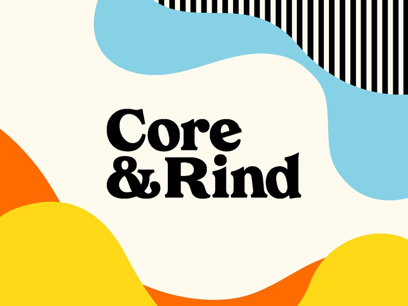 Core & Rind - Logo logo color orange serif typeography branding identity blue yellow black illustration pattern