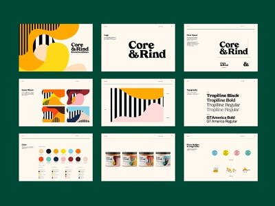 Core & Rind - Brand Guidelines shapes yellow color illustraion package design packaging brand guideline branding logo design black illustration pattern