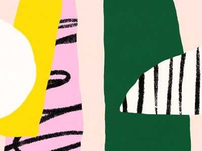 Morning Scribbles ✏️ bold color shapes pink green yellow black illustration pattern texture