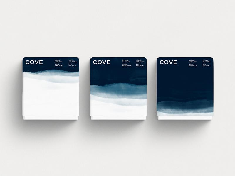 Cove - Box cannabis design cannabis branding cannabis texture logo white blue branding identity black pattern design packaging watercolor illustration