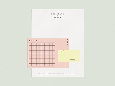 Southbank Tower - Stationery letterhead pink yellow business card mark logo color stationery icon branding design identity