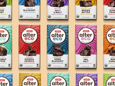 Alter Eco - Bars yellow red design orange shapes green pink blue texture chocolate bar chocolate package design packaging pattern branding logo illustration
