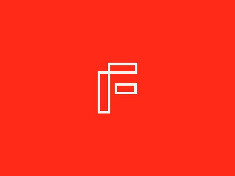 F red identity tech mark icon typography ux branding logo design illustration