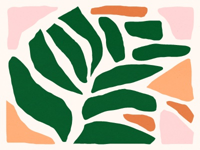 🌿 bold color orange design pink plants shape texture green shapes illustration pattern