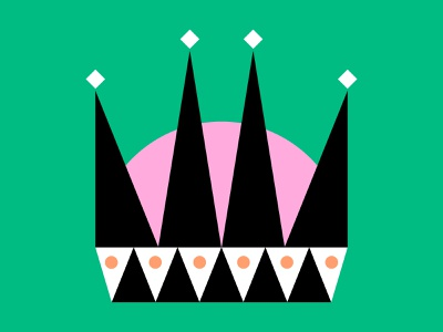 👑 crown black bold white color green design shapes pink illustration shape