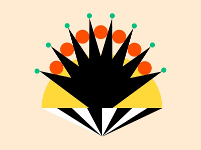👑 crown bold color orange green black design shapes yellow illustration shape
