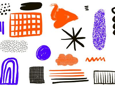 Scribble Scribble pattern texture black blue orange