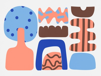 552018 bold shape pattern blue orange brown gray