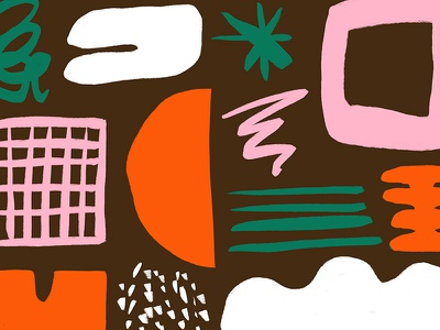 Morning Doodles pattern doodle texture greem white pink orange brown