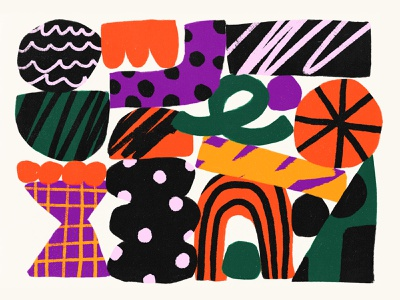 Just making the things purple illustration bold color shapes green yellow white orange pink black shape pattern texture