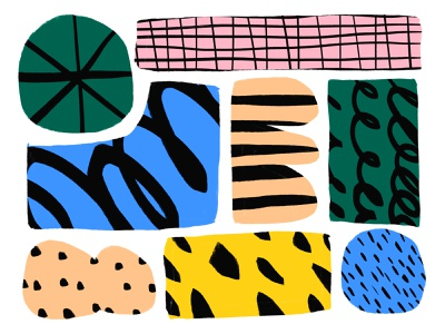 Making bold illustration color shapes yellow green white blue pink black shape pattern texture