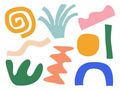 Bits and Pieces illustration color shapes yellow orange green blue pink shape