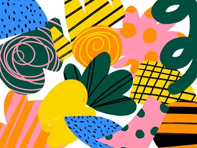 Just Making bold color shapes illustration yellow orange green blue pink black shape pattern texture