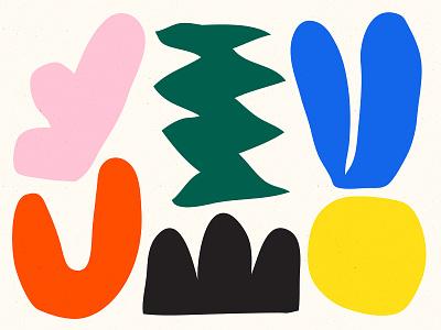 Alright bold color shapes illustration yellow orange green blue pink black shape