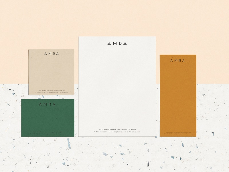 Amra Collateral print typography branding orange white yellow green texture logo design