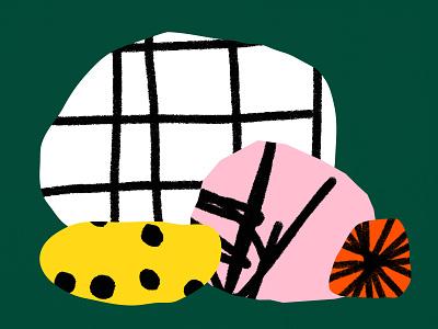 Stones vector design bold color shapes illustration orange white green yellow pink black shape pattern texture