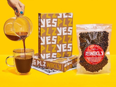 Yes Plz Packaging branding design vector packaging typography branding illustration logo design white yellow pattern